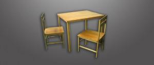 Mesa y sillas madera de balsa efectos especiales
